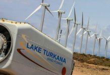 Wind propelled turbines at the Lake Turkana Wind Project.