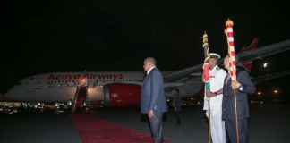 President Uhuru Kenyatta flags off the inaugural Kenya Airways (KQ) direct flight from Nairobi to New York.