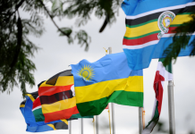 The national flags of some East African nations.