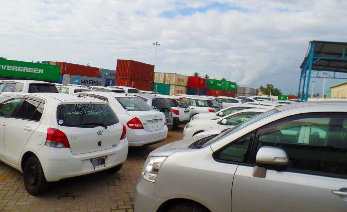 Imported second hand cars at the Mombasa Port.