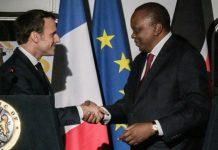 French President Emmanuel Macron with Kenyan President Uhuru Kenyatta