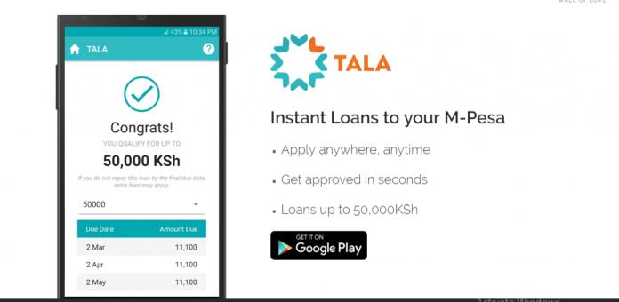 Tala digital lending app.