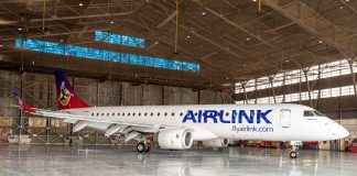 An Airlink small airliner in a hangar