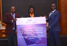 Digital Lenders Association of Kenya (DLAK) Chairman Kevin Mutiso (left) and PricewaterhouseCoopers Senior Associate Regulatory Compliance Christopher Ndegwa (right) hand over the Comparative Study on the Regulation of Digital Landing to the National Assembly Committee chairperson on Finance and National Planning Hon. Gladys Wanga. The findings follow a comparative study on digital lending across 11 jurisdictions with different regulatory regimes