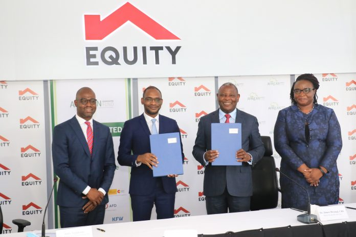 (From left) Frank Adjagba, African Guarantee Fund Group Director of Business Development; Jules Ngankam, African Guarantee Fund CEO; Dr. James Mwangi, Equity Group Holdings MD & CEO and Christine Browne, Equity Group Director, Legal Services and Company Secretary during the signing of agreement for a Kshs 8.25 Billion facility.
