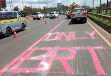 An example of the special lanes created for the BRT project.