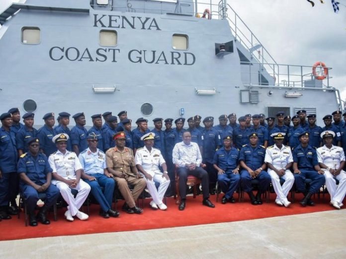 President Uhuru Kenyatta launches the Kenya Coast Guard Service in Liwatoni, Mombasa, on Monday