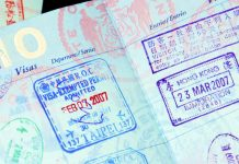 Travel VISA in a passport