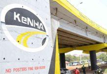 KeNHA logo on a Kenyan road