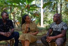 British actor Idris Elba (L) and his wife, actress and model, Sabrina Dhowre Elba (M), both IFAD Goodwill Ambassadors for the UN rural poverty agency IFAD (International Fund for Agricultural Development) speak with a rural farmer named Clement Kanu (R) on how he was able to rebound economically and support his family through agriculture after the economic and food crisis caused by Ebola during their recent visit in western rural Sierra Leone on 19 December 2019. (Photo by Rodney Quarcoo / IFAD)