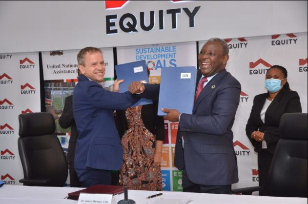From Left to right: United Nation's Resident Coordinator in Kenya, Dr. Stephen Jackson and Equity Group Managing Director and CEO, Dr. James Mwangi display the signed UN partnership agreement documents. Equity Group and Equity Group Foundation together with the United Nations system in Kenya, and its SDG Partnership Platform have signed a strategic partnership to accelerate the achievement of the Kenya's Sustainable Development Goals (SDGs) in Kenya by 2030.
