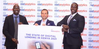 ReelAnalytics Director Andrew Akeye, Zenka Finance Director Felipe Sanhueza and PricewaterhouseCoopers Senior Associate Regulatory and Finance Christopher Ndegwa during the release of the State of Digital Lending in Kenya Report 2021. The report shows majority of Kenyans place digital lending platforms top on their priority list of credit sources to fund growth of small business.